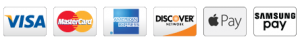 We accept Visa, MasterCard, American Express, Discover, Apple Pay and Samsung Pay