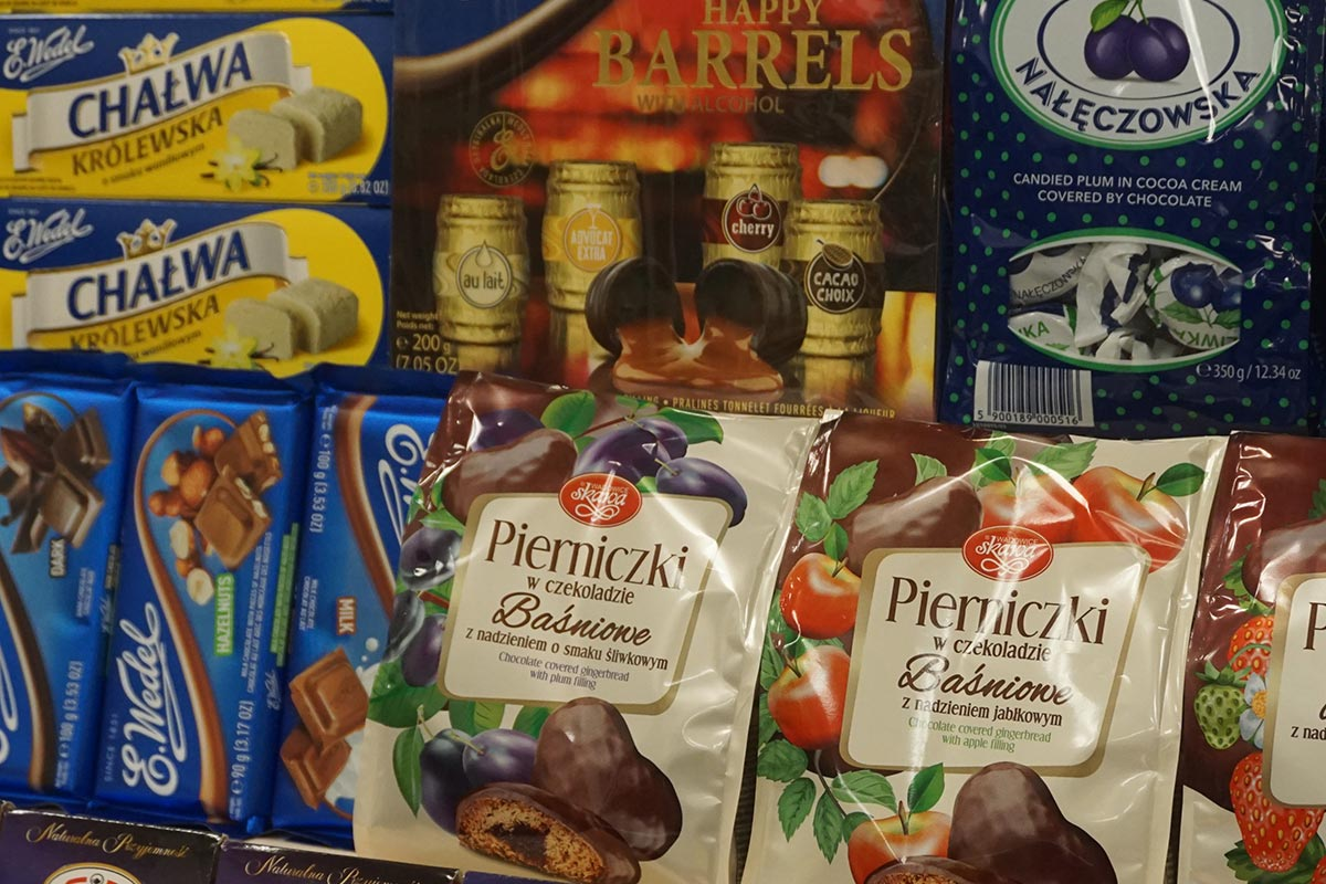 Polish chocolate and crackers at Polska Polish Pottery